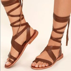 Brown Distressed Leather Lace Up Gladiator Sandal